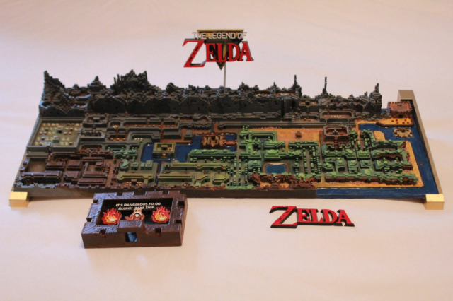 original legend of zelda map 3d printed